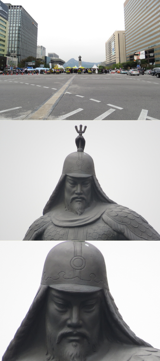 캐논 파워샷 SX60 HS을 통해 서울 광화문 광장의 모습을 촬영해봤다. 위쪽부터 광학 1배줌을 통해 촬영한 광화문 광장과 같은 위치에서 광학 65배줌을 이용해 촬영한 이순신 장국 동상. 맨 아래 사진은