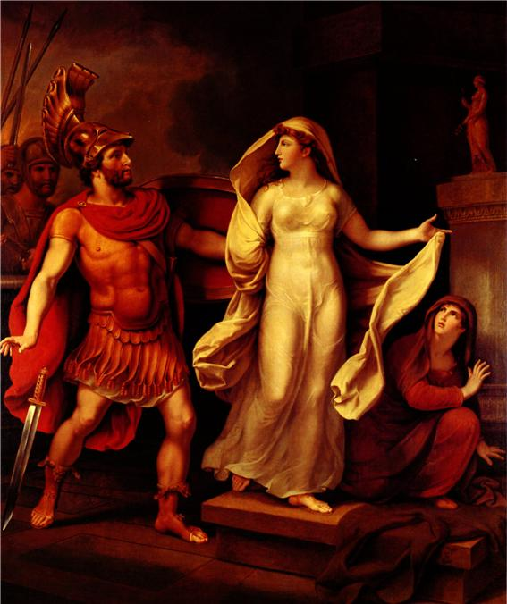 트로이 성으로 입성한 메넬라오스는 헬레네를 찾아내 죽이려고 하였다. 하지만 메넬라오스는 정작 천하일색의 헬레네의 자태를 보자, 칼을 떨어뜨리고 얼빠진 표정으로 그녀의 손에 이끌리고 있다. 메넬라오스에게 해를 입을까 두려움에 구석에 숨었던 시녀가 헬레네의 당당한 태도를 당혹스런 표정으로 바라보고 있다. 얼마 전까지만 해도 파리스 왕자의 품에 안기던 헬레네가 아니었던가. 메넬라오스의 10년의 미움도 싹 가시게 할 만큼 헬레네의 미색이 고혹적이긴 하다. '헬레네와 메넬라오스', Johann Heinrich Wilhelm Tischbein(1751~1829) 1816년 작, 독일 Schloss Eutin 박물관, 사진 Das Homer-Zimmer