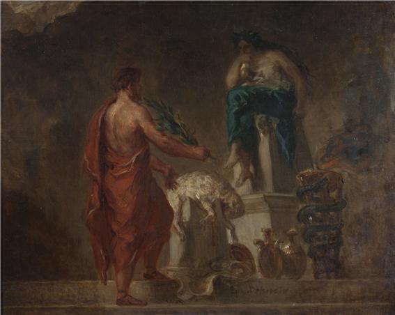 델포이의 피티아 사제에게 청원하는 리쿠르고스, Eugene Delacroix(1798~1863) 1835/1845년 작, 미국 미시간 대학 박물관 소장