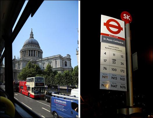 왼쪽 사진은 더블데커의 2층에서 본 세인트폴대성당. 앞쪽으로 오픈투어버스가 지나가고 있다. 오른쪽 사진은 버스 정류소의 버스 번호. N은 심야버스라는 표시. ⓒ Get About 트래블웹진