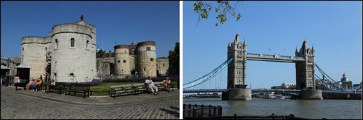 런던타워(왼쪽)와 타워브릿지. ⓒ Get About 트래블웹진