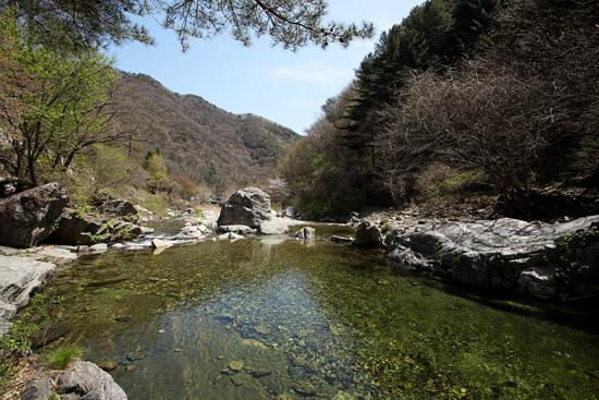 미륵바위 앞 용추계곡의 맑은 물ⓒ최진연 기자
