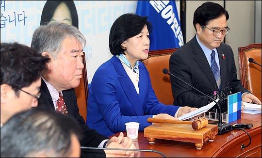 추미애 더불어민주당 대표가 12일 오전 국회에서 열린 최고위원회의에서 이야기 하고 있다. ⓒ데일리안 박항구 기자