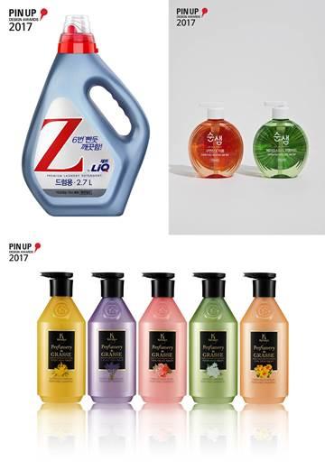 2017 핀업 디자인 어워드에서 수상한 애경의 리큐Z(좌측상단), 순샘(우측상단), 케라시스 퍼퓨머리 드 그라스(하단) 제품. ⓒ애경