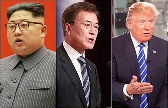 김정은 노동당 위원장, 문재인 대통령, 도널드 트럼프 대통령ⓒ데일리안·게티이미지코리아