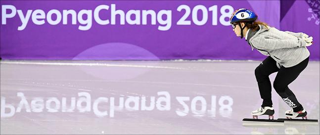 여자 쇼트트랙 500m 출격을 앞두고 있는 최민정. ⓒ 2018평창사진공동취재단