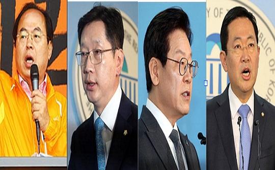 부산과 경남, 경기, 인천은 자유한국당 소속 후보가 지난 선거에서 승리했다. 그러나 이번 6월 선거에선 민주당 후보들의 약진이 두드러진다. 왼쪽부터 부산 오거돈, 경남 김경수, 경기 이재명, 인천 박남춘 후보 ⓒ데일리안