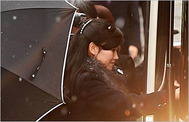 현송월 북한 삼지연관현악단 단장이 지난 1월 서울 중구 국립극장 해오름극장 내부를 둘러본 뒤 나오고 있다. ⓒ데일리안 홍금표 기자