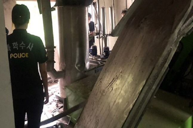 폭발사고가 난 한전원자력연료 건물 내부 모습.ⓒ연합뉴스
