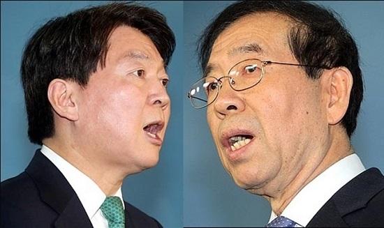 안철수(왼쪽) 바른미래당 서울시장 후보, 박원순 더불어민주당 서울시장 후보 ⓒ데일리안 박항구 기자