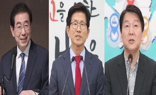 왼쪽부터 더불어민주당 서울시장 후보 박원순, 자유한국당 후보 김문수, 바른미래당 안철수 후보 ⓒ데일리안