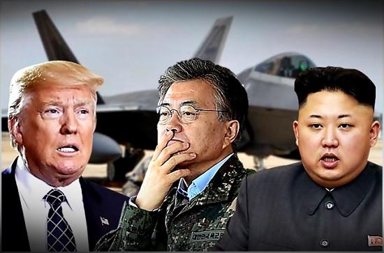 왼쪽부터 도널드 트럼프 미국 대통령과 문재인 대통령, 김정은 북한 국무위원장 ⓒ데일리안
