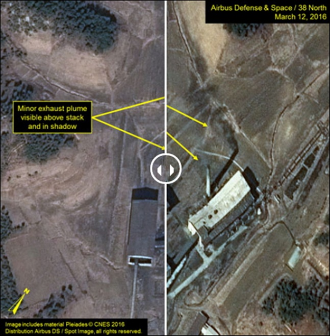 북한은 이날 오전 11시 풍계리 핵실험장의 2번 갱도와 관측소에 대한 폭파를 진행한 데 이어 오후 2시17분 4번 갱도와 단야장을 폭파했다.(자료사진) ⓒ38노스 화면 캡처