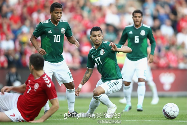 덴마크와의 최종 평가전에서 완패한 멕시코. ⓒ 게티이미지