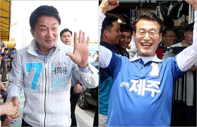 무소속 원희룡 후보(왼쪽)와 더불어민주당 문대림 후보(오른쪽) ⓒ데일리안