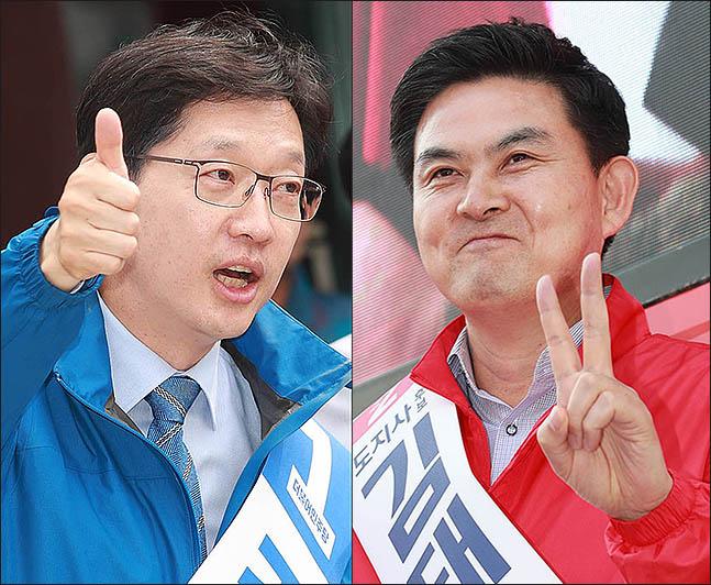 왼쪽부터 경남지사 김경수 더불어민주당 후보와 김태호 자유한국당 후보. ⓒ데일리안DB