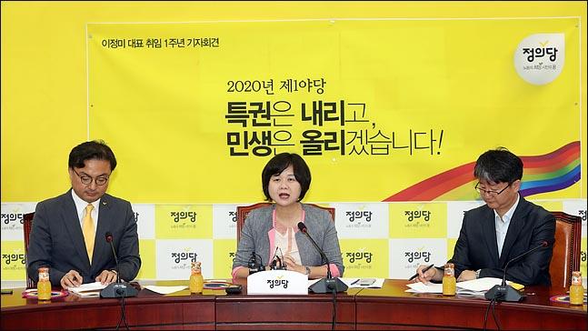 이정미 정의당 대표가 12일 오전 국회에서 취임 1주년 기자회견을 하고 있다. ⓒ데일리안 박항구 기자