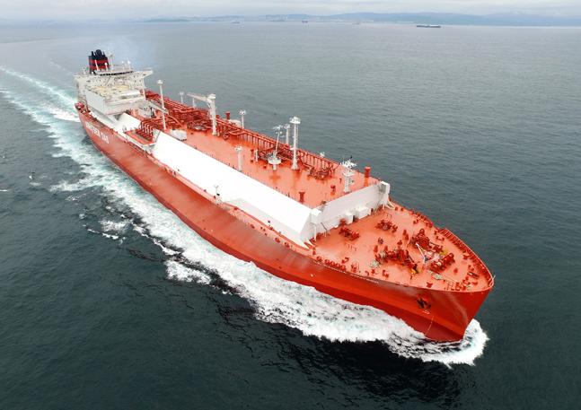 현대중공업이 건조해 노르웨이 크누센사에 인도한 LNG운반선.ⓒ현대중공업