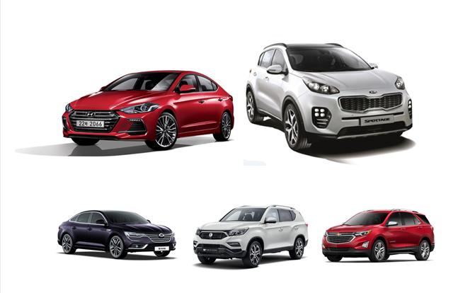 완성차 5사 주요 차종들. 왼쪽 위부터 시계방향으로 현대차 아반떼, 기아차 스포티지, 쉐보레 이쿼녹스, 쌍용차 G4 렉스턴, 르노삼성 SM6.ⓒ각사