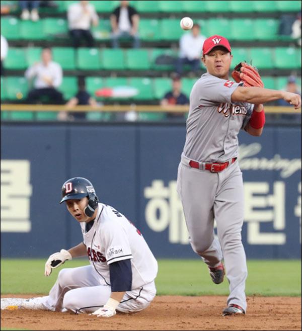 올 시즌 왕웨이중에게 5할 타율을 기록 중인 박건우와 장타를 빼앗은 최정. ⓒ 연합뉴스