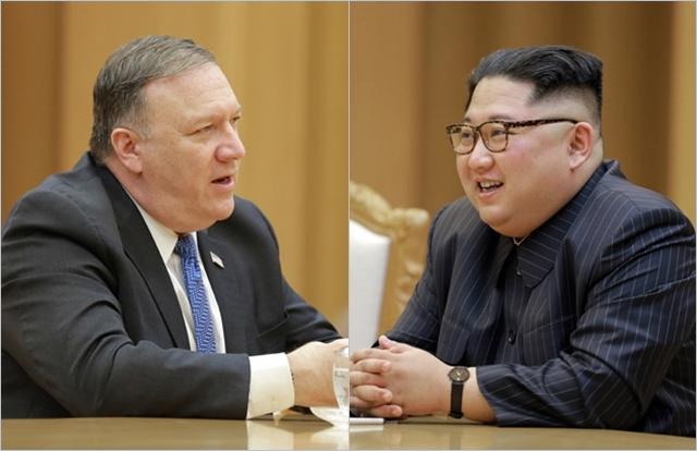 김정은 북한 국무위원장(오른쪽)과 마이크 폼페이오 미국 국무장관 ⓒ조선중앙통신