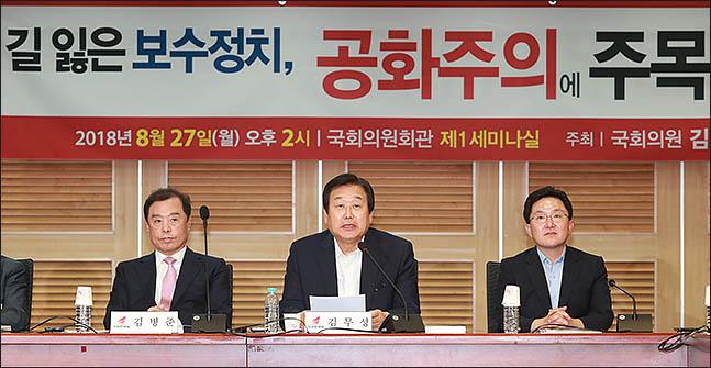 김무성 자유한국당 전 대표최고위원이 지난달 27일 의원회관에서 공화주의 관련 세미나를 열고 있다(자료사진). ⓒ데일리안 류영주 기자