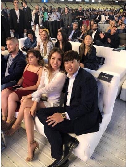류현진 배지현 부부가 다저스 행사에 참석했다. 류현진 인스타그램 캡처.