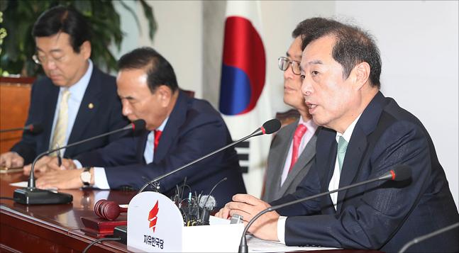 김병준 자유한국당 비대위원장이 지난 4일 오전 국회에서 열린 자유한국당 비상대책위원회의에서 모두발언을 하고 있다. (자료사진) ⓒ데일리안 홍금표 기자