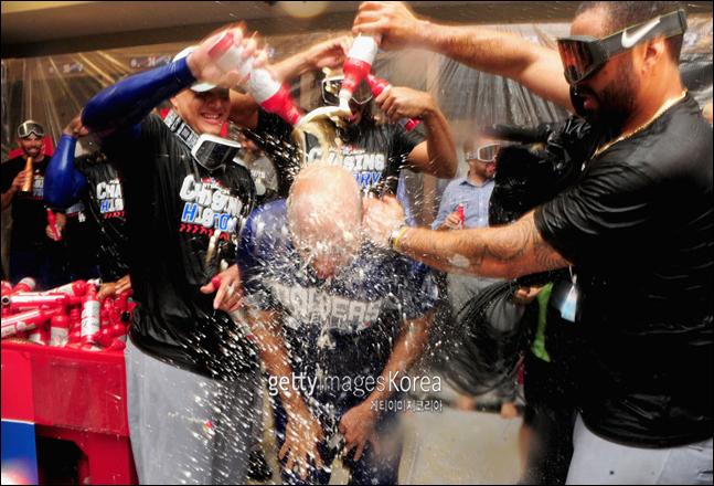 조기에 챔피언십시리즈 진출을 확정지은 다저스. ⓒ 게티이미지