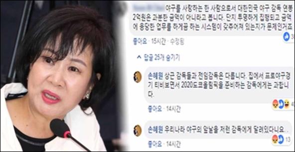 손혜원 의원, 선동열 연봉 질문 논란. ⓒ 손혜원 의원 페이스북