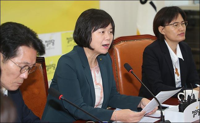 이정미 정의당 대표가 8일 오전 국회에서 열린 상무위원회에서 모두발언을 하고 있다. ⓒ데일리안 박항구 기자