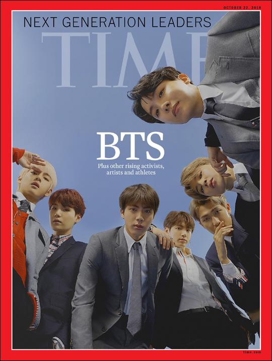 보이그룹 방탄소년단(BTS)을 표지모델로 내세운 미국 시사주간지 타임의 아시아판 예약 판매분이 매진됐다. ⓒ빅히트