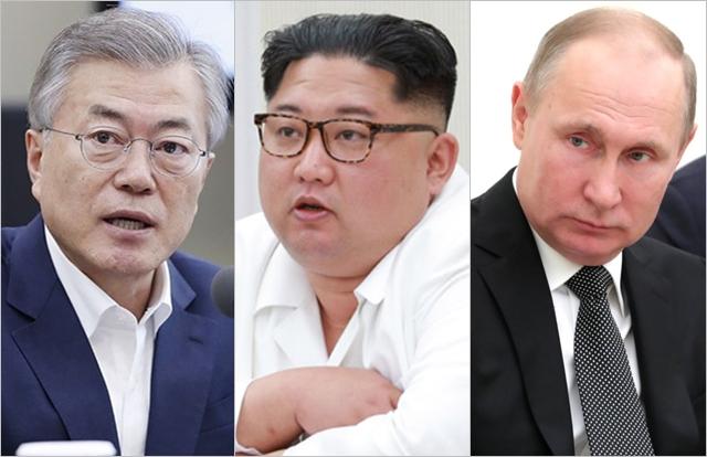 왼쪽부터 문재인 대통령, 김정은 북한 국무위원장, 블라디미르 푸틴 러시아 대통령 ⓒ청와대, BBC
