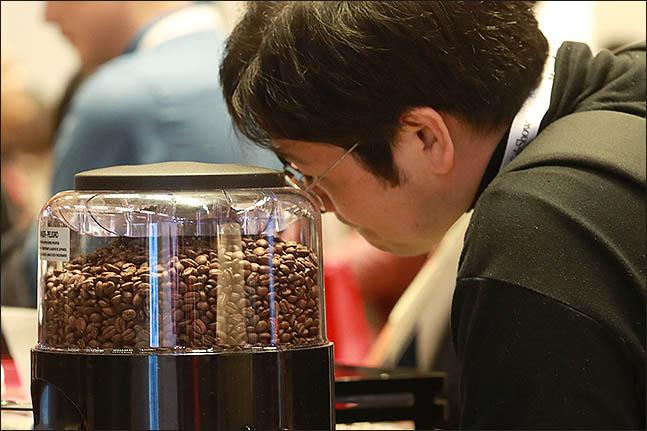 8일 오후 서울 강남구 코엑스에서 열린 '2018 카페쇼'에 관람객이 기계 안에 든 원두를 보고 있다. ⓒ데일리안 류영주 기자