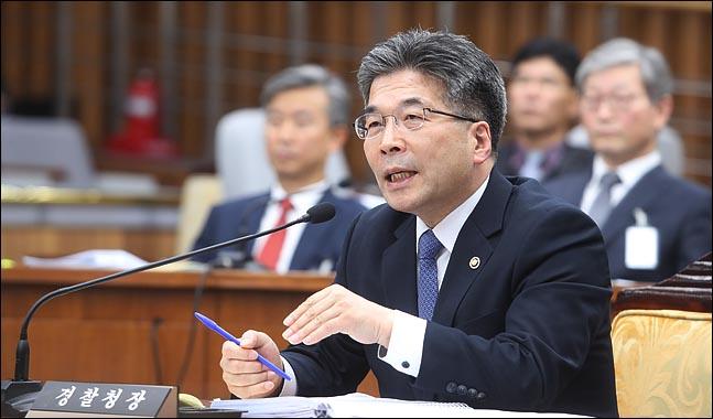 민갑룡 경찰청장이 9일 열린 국회 사법개혁특별위원회에 출석해 의원들의 질의에 답변하고 있다. ⓒ데일리안 박항구 기자