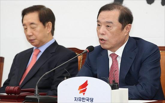 김병준 자유한국당 비대위원장이 12일 오전 국회에서 열린 자유한국당 비상대책위원회의에서 모두발언을 하고 있다. ⓒ데일리안 홍금표 기자