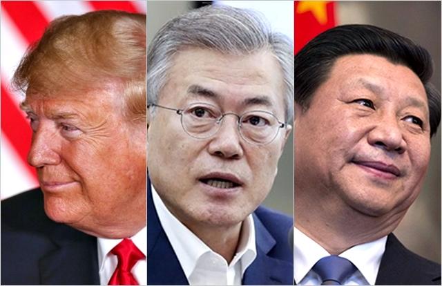 왼쪽부터 도널드 트럼프 미국 대통령, 문재인 대통령, 시진핑 중국 국가주석 ⓒBBC, 청와대