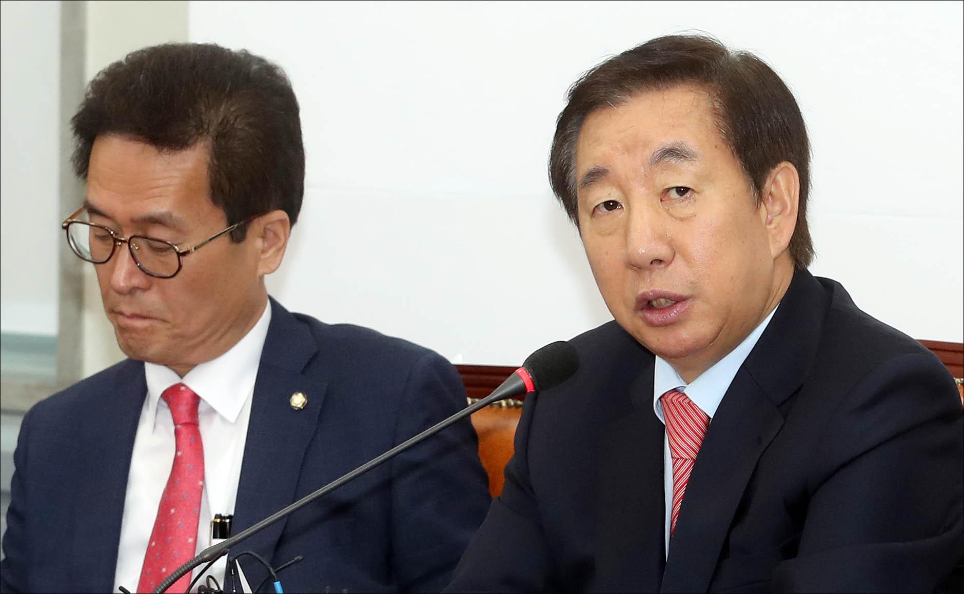 김성태 자유한국당 원내대표가 지난 15일 오전 국회에서 열린 비상대책위원회의에서 발언하고 있다. (자료사진) ⓒ데일리안 박항구 기자