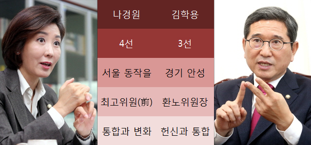 자유한국당 원내대표 경선 후보인 4선의 나경원 의원과 3선의 김학용 의원. ⓒ데일리안 박항구 기자