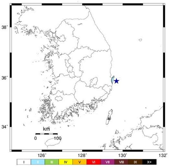 9일 오후 2시 6분께 경북 포항시 남구 동남동쪽 34㎞ 해역에서 규모 2.2의 지진이 발생했다.ⓒ기상청