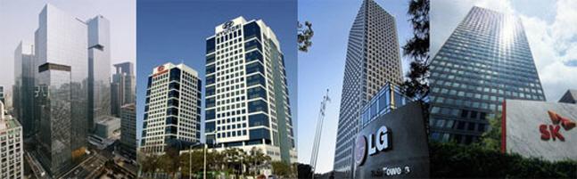 주요 대기업 사옥 전경. 왼쪽부터 삼성서초사옥, 현대차그룹 양재사옥, 여의도 LG트윈타워, SK 서린빌딩.ⓒ각사