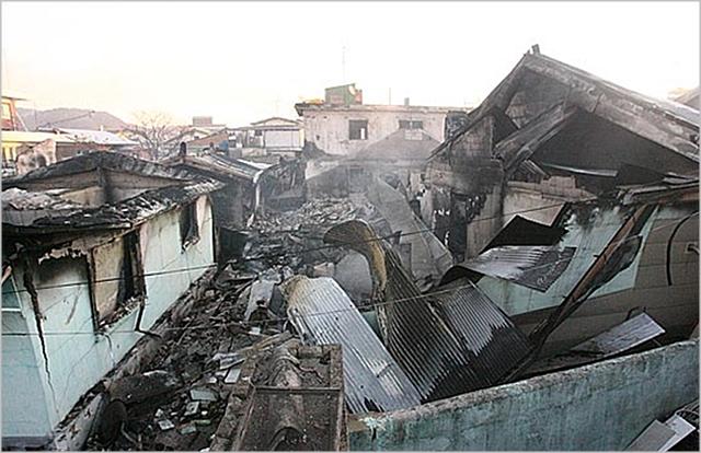 북한의 연평도 포격으로 피해를 입은 연평면 중부리의 참혹한 현장. ⓒ웅진군청