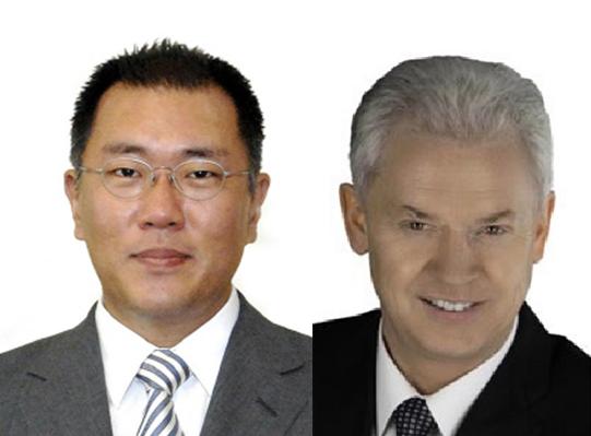 정의선 현대자동차그룹 수석부회장(왼쪽)과 알버트 비어만 현대·기아차 연구개발본부장 사장ⓒ현대자동차그룹