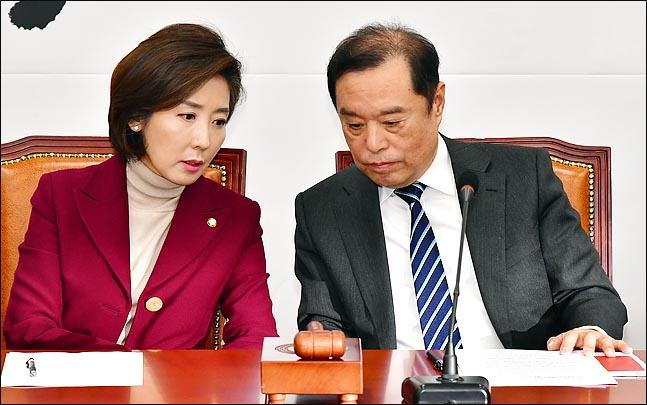 자유한국당 나경원 원내대표, 김병준 비상대책위원장. ⓒ데일리안 박항구 기자