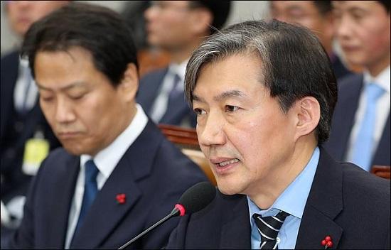 31일 국회에서 열린 국회 운영위원회에 출석한 조국 청와대 민정수석이 의원들의 질의에 답변하고 있다. ⓒ데일리안 박항구 기자