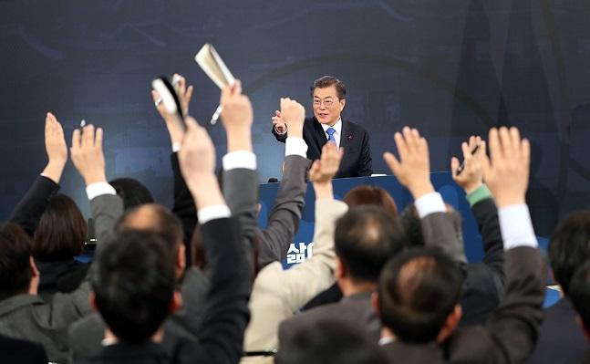 지난해 1월 10일 문재인 대통령 신년기자회견이 청와대 영빈관에서 열리고 있다.ⓒ청와대