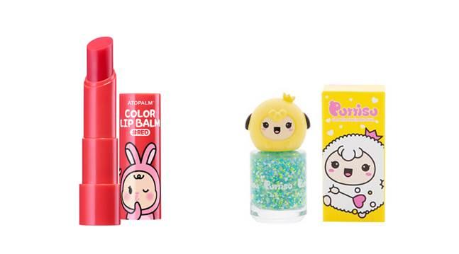 (왼쪽부터) 아토팜 키즈 컬러 립밤, 뿌띠슈 팡팡네일. ⓒ각 사
