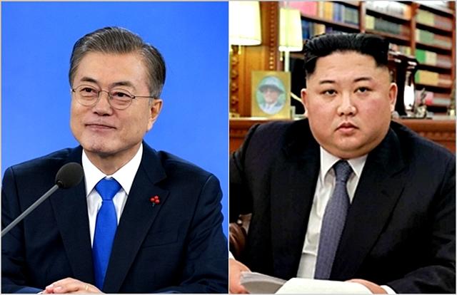 문재인 대통령(왼쪽)과 김정은 북한 국무위원장. ⓒ청와대,노동신문