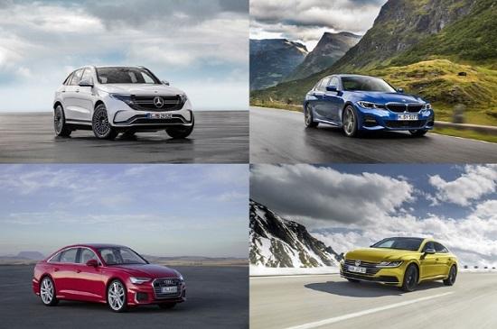 왼쪽부터 시계방향으로 벤츠 EQC, BMW 3시리즈, 폭스바겐 아테온, 아우디 A6ⓒ각 사
