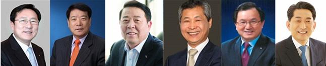 제26대 중소기업중앙회장 후보들. (왼쪽부터) 김기문, 박상희, 원재희, 이재광, 주대철, 이재한 이사장 ⓒ각 조합